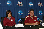 08 December 2007: Mami Yamaguchi (JPN) (l) and head coach Mark Krikorian (r). The Florida State University Seminoles held a press conference at the Aggie Soccer Stadium in College Station, Texas one day before playing in the NCAA Division I Womens College Cup championship game.