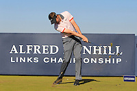 Ashley Chesters (ENG) on the 8th tee during Round 1 of the 2015 Alfred Dunhill Links Championship at Kingsbarns in Scotland on 1/10/15.<br /> Picture: Thos Caffrey | Golffile