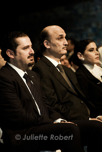 Saad Hariri et Samir Geagea, pendant le discours d'Amine Gemayel au BIEL lors de la commémoration de l'assassinat de Rafic Hariri, 14 fevrier 2011 - Saad Hariri and Samir Geagea at the BIEL during the commemoration of Rafik Hariri's assassination, february 14, 2011.