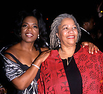 """Oprah Winfrey and Toni Morrison attending The """"BELOVED"""" Movie Premiere on October 8, 1998 at the Ziegfield Theatre, New York City."""
