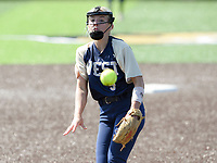NWA Democrat-Gazette/CHARLIE KAIJO Bentonville West High School Emma Wood (5) throws a pitch during a softball game, Friday, May 10, 2019 at Tiger Athletic Complex at Bentonville High School in Bentonville. Bentonville West High School defeated Bryant High School 5-3