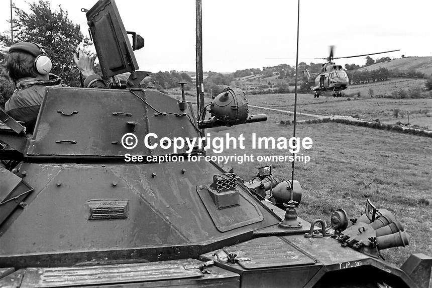 Following a wave of assasinations and counter-assasinations in South Armagh the British Army has increased its presence in the area with armoured vehicle and helicopter reconnaissance. Photo taken during a media facility organanised by the MOD. September 1975. 197509050635b <br />