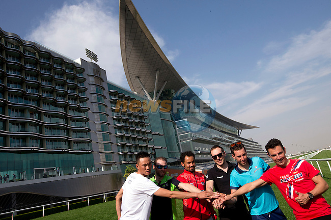 Xu Gang (CHN) Lampre-Merida, Alejandro Valverde (ESP) Movistar, Badr Mohamed Ahmed Mohamed Alhammadi UAE National Team, John Degenkolb (GER) Giant-Alpecin, Vincenzo Nibali (ITA) Astana and Joaquim Rodriguez (ESP) Katusha pictured in front of the Meydan Racetrack grandstand Dubai to launch the 2015 Dubai Tour. 3rd February 2015.<br /> Photo: ANSA/CLAUDIO PERI/ www.newsfile.ie