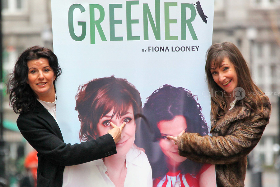 ****NO REPRODUCTION FEE PICTURE***.06/02/12 Pauline McLynn who plays Noirin and Deirdre O'Kane who plays Jean  pictured this afternoon at the Gaiety Theatre, Dublin at the launch of details of the new Fiona Looney play, 'Greener'...The play opens on 1st May 2012...Picture Colin Keegan, Collins, Dublin. ****NO REPRODUCTION FEE PICTURE****