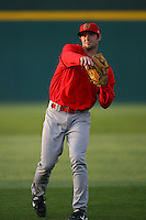 April 15 2009: Kyle Greene of the Visalia Rawhide before game against the Rancho Cucamonga Quakes at The Epicenter in Rancho Cucamonga,CA.  Photo by Larry Goren/Four Seam Images