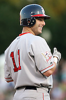 August 24 2008:  Jeff Corsaletti of the Pawtucket Red Sox, Class-AAA affiliate of the Boston Red Sox, during a game at Frontier Field in Rochester, NY.  Photo by:  Mike Janes/Four Seam Images