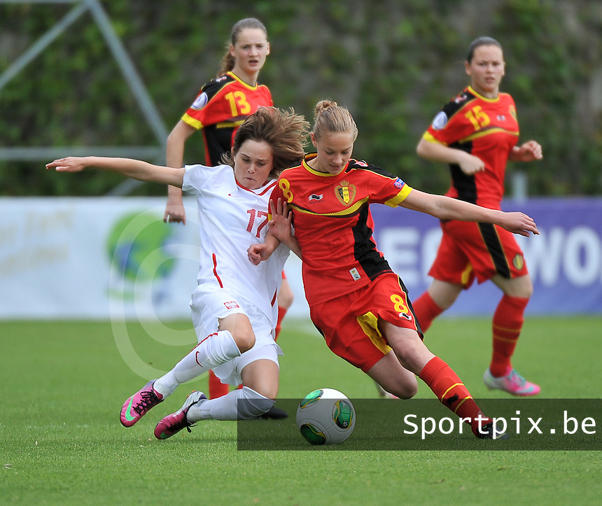 Belgium - Poland : duel tussen Margaux Van Ackere (8) en Ewa Pajor (17)<br /> foto David Catry / nikonpro.be
