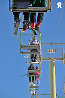 People on ski lift, French Alps, France (Licence this image exclusively with Getty: http://www.gettyimages.com/detail/82064687 )