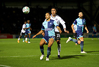 Nathan Tyson of Wycombe Wanderers shields the ball from Marcelo of Fulham during the Carabao Cup match between Wycombe Wanderers and Fulham at Adams Park, High Wycombe, England on 8 August 2017. Photo by Alan  Stanford / PRiME Media Images.