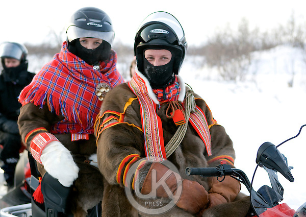 Crown Prince Haakon & Crown Princess Mette Marit of Norway on a two day visit to Finnmark in Norway, visit a Sami Reindeer herders winter settlement, near Kautokeino, in Finnmark, Northern Norway..