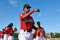 Billings Mustangs Reyny Reyes (17) before a Pioneer League game against the Grand Junction Rockies at Dehler Park on August 15, 2019 in Billings, Montana. Billings defeated Grand Junction 11-2. (Zachary Lucy/Four Seam Images)