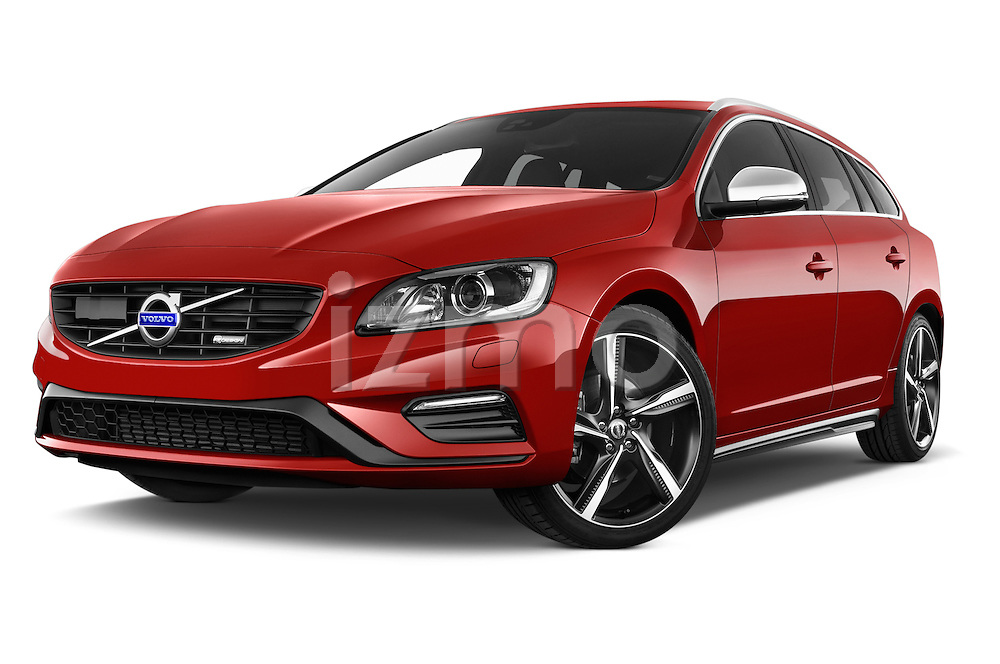 Stock pictures of low aggressive front three quarter view of a 2014 Volvo V60 Summum R-design 5 Door Wagon 2WD Low Aggressive