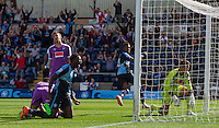Celebrations as Jason Banton (not pictured) of Wycombe Wanderers scores the level things during the Sky Bet League 2 match between Wycombe Wanderers and Plymouth Argyle at Adams Park, High Wycombe, England on 12 September 2015. Photo by Andy Rowland.