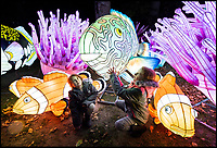BNPS.co.uk (01202 558833)<br /> Pic: PhilYeomans/BNPS<br /> <br /> Lily and Poppy Wellstead in the spectacular undersea section of the Festival. <br /> <br /> As the clocks go back the lights come on at Longleat House in Wiltshire - as the hugely popular Festival of Light switches on.<br /> <br /> The English country estate is transformed with 800 illuminated lanterns to take visitors on a magical journey around the world and under the sea.<br /> <br /> Staff at the popular park attraction say this is their most ambitious event yet, with a team of highly-skilled Chinese artists spending more than 7,000 hours to complete the different stories for A Fantastic Voyage.<br /> <br /> The displays have used more than 25 miles of silk and LED lighting strips, as well as more than 60,000 light bulbs.
