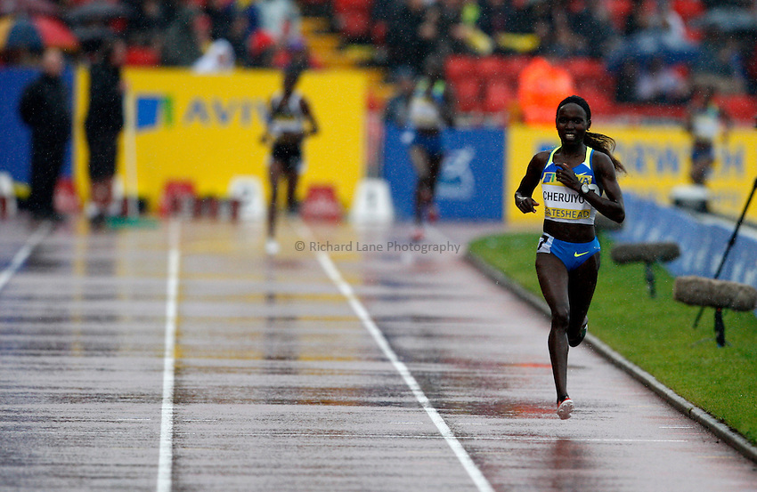 Photo: Richard Lane/Richard Lane Photography. Aviva British Grand Prix, Gateshead. 31/08/2008. Kenya's Vivian Cheruiyot comes home to win the women's 3000m.