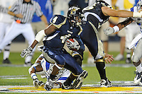 4 December 2010:  FIU wide receiver T.Y. Hilton (4) evades a tackler while taking a reception for extra yardage in the second quarter as the Middle Tennessee State University Blue Raiders defeated the FIU Golden Panthers, 28-27, at FIU Stadium in Miami, Florida.