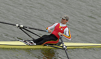 "Seville. SPAIN, 17.02.2007, BEL LM1X  Wouther van de FRAENEN, clears the ""Puente de la Barqueta"" [bridge] during Saturdays heats, of the FISA Team Cup, held on the River Guadalquiver course. [Photo Peter Spurrier/Intersport Images]    [Mandatory Credit, Peter Spurier/ Intersport Images]. , Rowing Course: Rio Guadalquiver Rowing Course, Seville, SPAIN,"