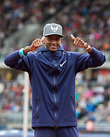 Essa Mutaz BARSHIM of Qatar gives thumbs up after his winning 2.40m high jump win during the Muller Grand Prix Birmingham Athletics at Alexandra Stadium, Birmingham, England on 20 August 2017. Photo by Andy Rowland.