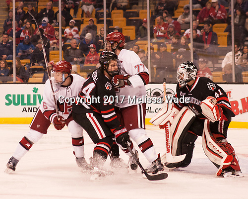 Ryan Donato (Harvard - 16), Garret Cockerill (NU - 14), Lewis Zerter-Gossage (Harvard - 77), Ryan Ruck (NU - 41) - The Harvard University Crimson defeated the Northeastern University Huskies 4-3 in the opening game of the 2017 Beanpot on Monday, February 6, 2017, at TD Garden in Boston, Massachusetts.