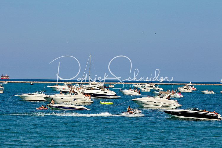 Boaters take in an enjoyable summer day on Lake Michigan near downtown Chicago, Ill.