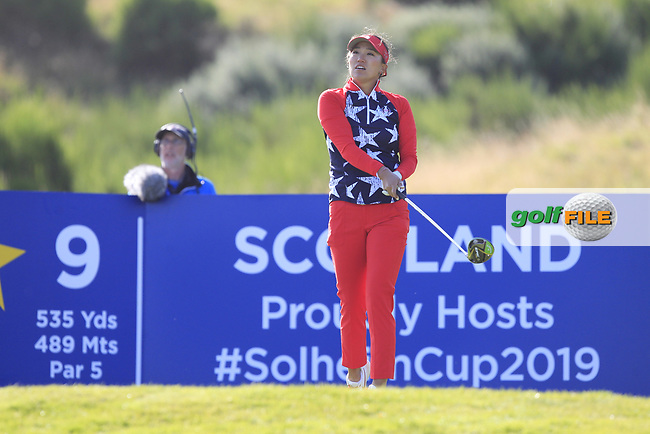 Megan Khang of Team USA on the 9th tee during Day 1 Foursomes at the Solheim Cup 2019, Gleneagles Golf CLub, Auchterarder, Perthshire, Scotland. 13/09/2019.<br /> Picture Thos Caffrey / Golffile.ie<br /> <br /> All photo usage must carry mandatory copyright credit (© Golffile   Thos Caffrey)