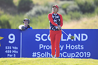 Megan Khang of Team USA on the 9th tee during Day 1 Foursomes at the Solheim Cup 2019, Gleneagles Golf CLub, Auchterarder, Perthshire, Scotland. 13/09/2019.<br /> Picture Thos Caffrey / Golffile.ie<br /> <br /> All photo usage must carry mandatory copyright credit (© Golffile | Thos Caffrey)