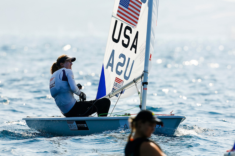SANTANDER, SPAIN - SEPTEMBER 12:  Laser Radial - USA199535 - Christine NEVILLE in action during Day 1 of the 2014 ISAF Sailing World Championships on September 12, 2014 in Santander, Spain.  (Photo by MickAnderson/SAILINGPIX via Getty Images)