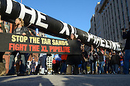 November 6, 2011  (Washington, DC)  Thousands of people from across the U.S. and Canada formed a circle around the White House to protest further extensions to the Keystone XL Pipeline.  The pipeline system is designed to transport oil from Canada to Illinois and Oklahoma.  The extension that would carry oil to the Gulf Coast has been opposed by environmentalists and the subject of lawsuits.   (Photo by Don Baxter/Media Images International)