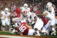 Jan 7, 2010; Pasadena, CA, USA; Alabama Crimson Tide running back Mark Ingram (22) scores a touchdown during the second quarter of the 2010 BCS national championship game against the Texas Longhorns at the Rose Bowl.  Mandatory Credit: Mark J. Rebilas-