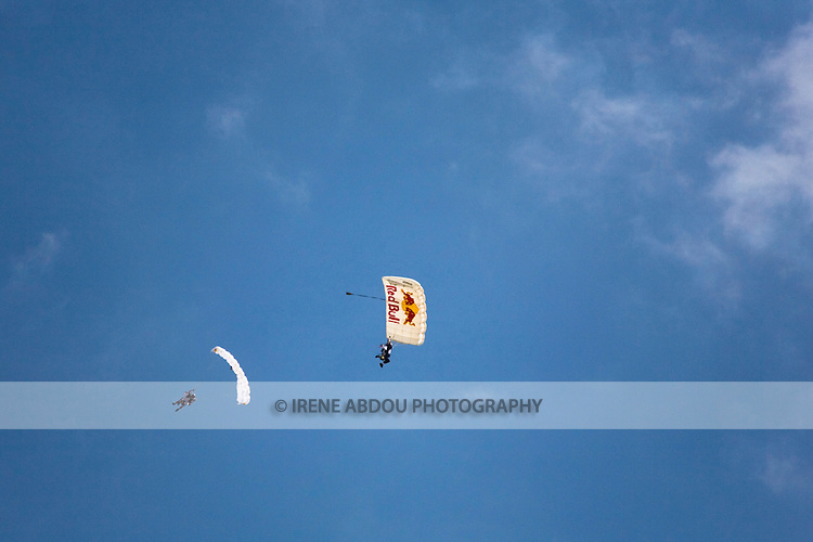 Parachutists skydive above Andrews Air Force Base, Maryland at the Joint Service Open House.