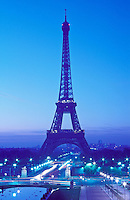 France, Paris, The Eiffel Tower as viewed from the Trocadero at dawn