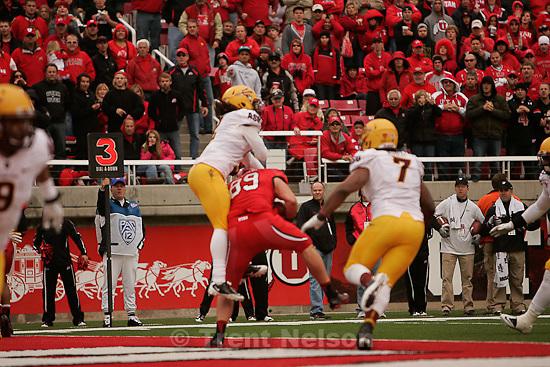 Trent Nelson  |  The Salt Lake Tribune.Utah's Dallin Rogers pulls down a touchdown , Utah vs. Arizona State, college football at Rice-Eccles Stadium in Salt Lake City, Utah, Saturday, October 8, 2011.
