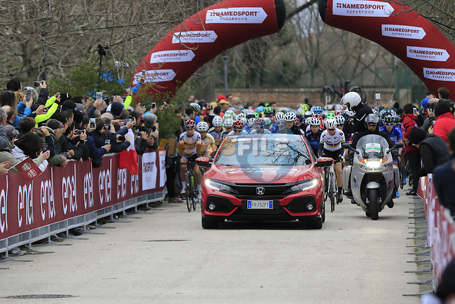 The start of the Ladies 2017 Strade Bianche running 127km from Siena to Siena, Tuscany, Italy 4th March 2017.<br /> Picture: Eoin Clarke | Newsfile<br /> <br /> <br /> All photos usage must carry mandatory copyright credit (&copy; Newsfile | Eoin Clarke)