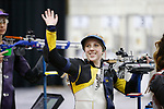 COLUMBUS, OH - MARCH 11: Ginny Thrasher of West Virginia waves to fans during the Division I Rifle Championships held at The French Field House on the Ohio State University campus on March 11, 2017 in Columbus, Ohio. (Photo by Jay LaPrete/NCAA Photos via Getty Images)