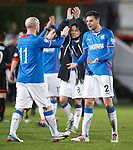 Seb Faure roars with delight at the final whistle as he congratulates Nicky Law