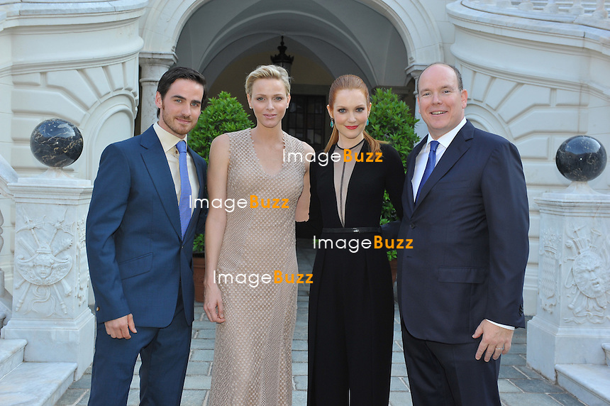 CPE/June 12, 2013-Prince Albert and Princess Charlene pose with Colin O'donoghue and Darby Stanchfield at Monaco Palace for the 53rd MonteCarlo TV Festival.