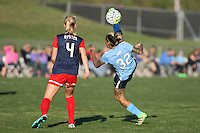 Tasha Kai (32) of Sky Blue connects on an athletic volley in front of Washington Spirit defender Megan Oyster (4). The Washington Spirit defeated Sky Blue FC 2-1 during a National Women's Soccer League (NWSL) match at Yurcak Field.