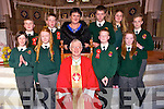 The 6th class students of Scartaglin New Cent Sc who were Confirmed at St Stephen and St John, Castleisland  on Tuesday March 18th. By Bishop Ray Browne<br /> <br /> Confirmation Day Scartaglen National School 18th March 2014<br /> <br /> Front Row L. to R.  Ann- Marie Steele, Ruth Borgeat, Bishop Ray Browne, Conor Casey, Aoife Dunlea.<br /> <br /> Back Row L. to R. Óisín Collins, Shane McEnery, Mairéad Bn Uí Bhrosnacháin, Principal. Jerry Murphy, Georgia Cronin, Giles O'Connor.