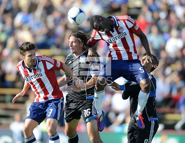 Santa Clara, Ca - Sunday, May 13, 2012: San Jose Earthquakes and Chivas USA tie 1-1, at Buck Shaw Stadium during a regular season match.
