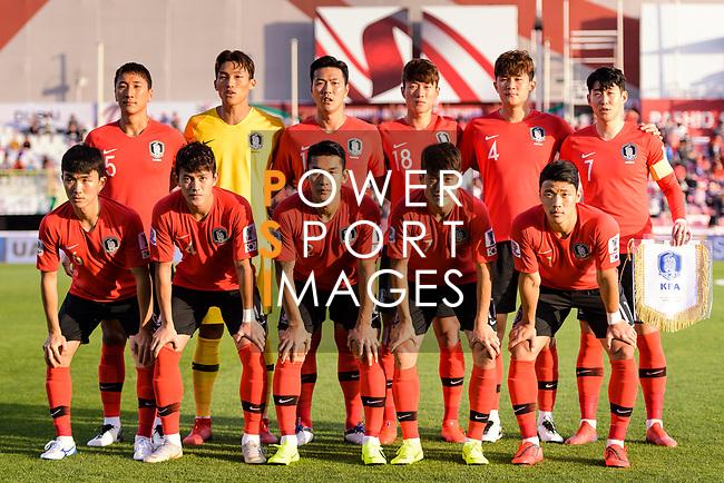 Team South Korea squad poses for photos during the AFC Asian Cup UAE 2019 Round of 16 match between South Korea (KOR) and Bahrain (BHR) at Rashid Stadium on 22 January 2019 in Dubai, United Arab Emirates. Photo by Marcio Rodrigo Machado / Power Sport Images