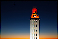 Sunrise - Austin, Texas. As the crescent moon leads the sun over the horizon in the east, the UT Tower glows orange after a Longhorn football victory. The University of Texas tower on the 40 acres is an iconic building in the Austin skyline, and images from of this structure are plentiful. When it is lit orange, it is always one of my favorite photographic locations.