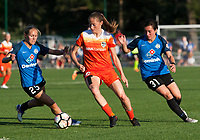Kansas City, MO - Sunday July 02, 2017:  Janine Beckie attempts to control the ball against the defenses of Christina Gibbons and Brittany Ratcliffe during a regular season National Women's Soccer League (NWSL) match between FC Kansas City and the Houston Dash at Children's Mercy Victory Field.