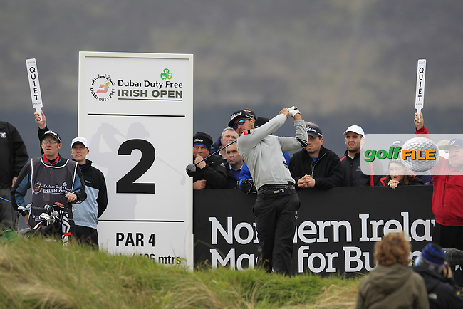 Rafa CABRERA-BELLO (ESP) tees off the 2nd tee during Saturday's Round 3 of the 2015 Dubai Duty Free Irish Open, Royal County Down Golf Club, Newcastle Co Down, Northern Ireland 5/30/2015<br /> Picture Eoin Clarke, www.golffile.ie