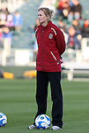 05 December 2008: Stanford assistant coach Theresa Wagner. The Notre Dame Fighting Irish defeated the Stanford Cardinal 1-0 at WakeMed Soccer Park in Cary, NC in an NCAA Division I Women's College Cup semifinal game.