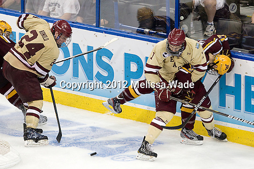Bill Arnold (BC - 24), Isaac MacLeod (BC - 7), Seth Ambroz (Minnesota - 17) - The Boston College Eagles defeated the University of Minnesota Golden Gophers 6-1 in their 2012 Frozen Four semi-final on Thursday, April 5, 2012, at the Tampa Bay Times Forum in Tampa, Florida.