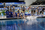 INDIANAPOLIS, IN - MARCH 18: Stanford jumps in the pool after winning the Division I Women's Swimming & Diving Championships held at the Indiana University Natatorium on March 18, 2017 in Indianapolis, Indiana. (Photo by A.J. Mast/NCAA Photos via Getty Images)