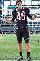 Texas Tech kicker Kramer Fyfe (45) before an NCAA Football game kickoff, Saturday, November 29, 2014 in Arlington, Tex. (Mo Khursheed/TFV Media via AP Images)