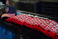 Budweiser gear rests on a table at a U.S. Soccer Sunday Kick-off Series Event at Nashville Underground on Sunday, September 9, 2018 in Nashville, TN.