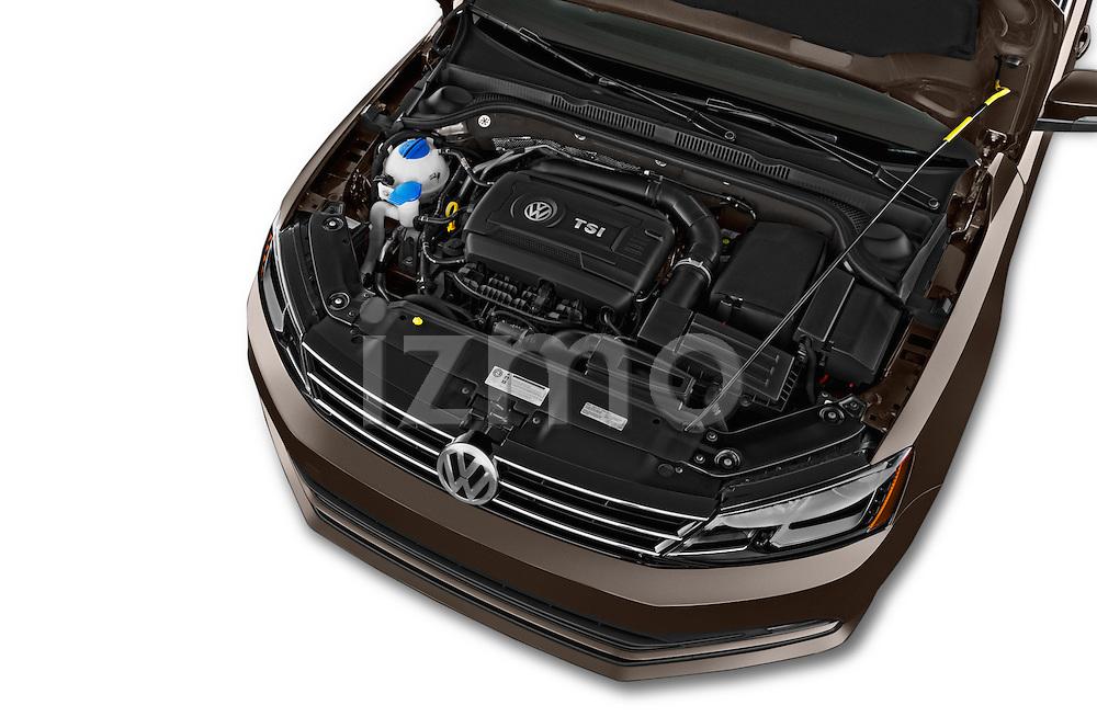Car Stock 2015 Volkswagen Jetta 2.5L SEL 4 Door Sedan Engine high angle detail view