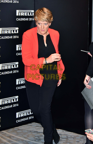 LONDON, ENGLAND - NOVEMBER 30: Clare Balding at a photocall for the launch of the 2016 Pirelli calendar in London on November 30, 2015<br /> CAP/JOR<br /> &copy;JOR/Capital Pictures